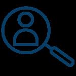 Icono lupa usuario Azul