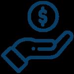Icono mano y moneda Azul